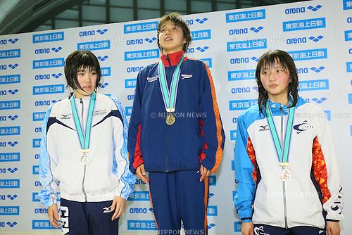 (L to R) <br /> Makiko Yoshida, <br /> Kaya Sugiyama, <br /> Momoka Suzuki, <br /> MARCH 29, 2015 - Swimming : <br /> The 37th JOC Junior Olympic Cup <br /> Women's 200m Backstroke <br /> 15-16 years old award ceremony <br /> at Tatsumi International Swimming Pool, Tokyo, Japan. <br /> (Photo by YUTAKA/AFLO SPORT)