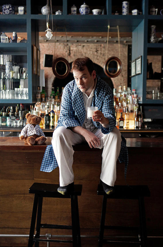 Comedian Mike Birbiglia poses for a portrait at Madam Geneva in Manhattan. ..Danny Ghitis for Bust Magazine