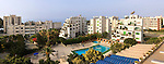 Panoramic view on buildings and hotels on the Mediterranean sea shore. Limassol, Cyprus, Navarria hotel.