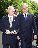 Ambassador David Ivry of Israel, left, and Foreign Minister Shimon Peres of Israel, right, depart the White House after meeting reporters following their meeting with United States President George W. Bush on May 3, 2001.<br /> Credit: Ron Sachs / CNP /MediaPunch