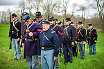 Woodbury, CT- 22 April 2017-042217CM03- Randy Pesut of Terryville leads drill exercises with the 2nd Second Connecticut Regiment of Volunteers Heavy Artillery  in Woodbury on Saturday.  The company set up camp, squared away their uniforms and practiced marching.  The group will take part in two reenactments in May, including the Battle of New Market in New Market, VA.  Christopher Massa Republican-American