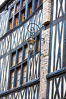 Traditional timber-frame Tudor style building in Rue Stephen Liegeard in medieval Dijon in Burgundy region, France