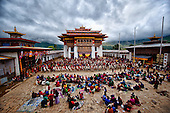 Bhutan: Phobjikha valley, the  Gangte, monastery tsechu