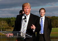 Oct. 04, 2011 - Charlottesville, VA. USA; Donald Trump spoke in front of son Eric Trump, right, during a press conference announcing the grand opening of Trump Vineyard Estates Tuesday in Charlottesville, Va. Trump purchased the foreclosed vineyard, previously owner by Patricia Kluge, at auction earlier this year. The 2,000 acre Trump Vineyard estate is also the home to Trump Winery, helmed by Donald's son Eric Trump.  (Credit Image: © Andrew Shurtleff)