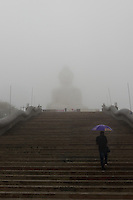 Stairs to the Big Buddha monumet during rain on Phuket, Thailand