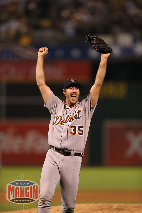 OAKLAND, CA - OCTOBER 11:  Justin Verlander of the Detroit Tigers celebrates after Game 5 of the ALDS against the Oakland Athletics at O.co Coliseum on October 11, 2012 in Oakland, California. (Photo by Brad Mangin)