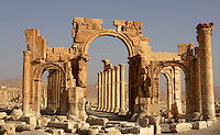 The Monumental Arch built under the reign of Septimius Severus (193 - 211 AD). Palmyra. Syria Picture by Manuel Cohen