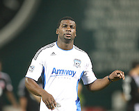 Brandon McDonald #14 of the San Jose Earthquakes leaves the field after receiving a red card during an MLS match against D.C. United at RFK Stadium in Washington D.C. on October 9 2010. San Jose won 2-0.