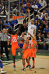 31 MAR 2012:  Anthony Davis (23) of the University of Kentucky shoots over Gorgui Dieng (10) of the University of Louisville during the Semifinal Game of the 2012 NCAA Men's Division I Basketball Championship Final Four held at the Mercedes-Benz Superdome hosted by Tulane University in New Orleans, LA. Kentucky defeated Louisville 69-61 to advance to the national final. Brett Wilhelm/ NCAA Photos