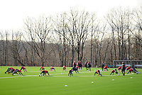 New York Red Bulls players stretch at the beginning of practice on the campus of Montclair State University in Upper Montclair, NJ, on January 19, 2012.