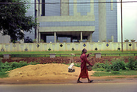 In Bhubaneswar the state capital of Orissa a charmer walks to work with his snakes. A software company occupies the building behind him high lighting the differences between old and modern india.