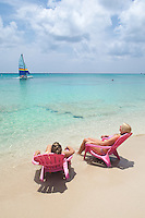 Pink Beach Chairs and Catamaran.St Croix, US Virgin Islands