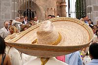 Mariachi wearing large Mexican sombrero at a wedding in San Miguel de Allende, Mexico