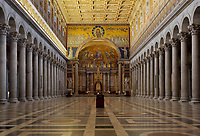 Nave and apse, Basilica Papale di San Paolo fuori le Mura (Basilica of Saint Paul Outside the Walls), 4th century, totally restored after a great fire in 1823, shrine of Saint Paul, Rome, Italy. Picture by Manuel Cohen