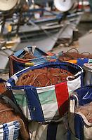 Europe/Chypre/Paphos: Détail des filets sur le port de pêche