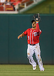 23 July 2016: Washington Nationals outfielder Ben Revere pulls in a shallow fly ball for the first out in the 8th inning against the San Diego Padres at Nationals Park in Washington, DC. The Nationals defeated the Padres 3-2 to tie their series at one game apiece. Mandatory Credit: Ed Wolfstein Photo *** RAW (NEF) Image File Available ***