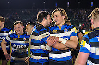 Elliott Stooke and David Denton of Bath Rugby after the match. Aviva Premiership match, between Bath Rugby and Northampton Saints on February 10, 2017 at the Recreation Ground in Bath, England. Photo by: Patrick Khachfe / Onside Images