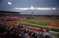 OSU baseball -- first night game in Bill Davis Stadium -- Ohio State University pitcher #38 Justin Fry throws Michigan #2 Scott Tousa the first pitch under the lights at Bill Davis Stadium April 3, 1998. (Dispatch photo by MIKE ELICSON)