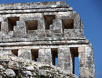 """Eastern Façade of the Codz Poop (""""Rolled-up matting"""" in Maya), Detail of cornice, Puuc Architecture, 700 ? 900 AD, Kabah, Yucatan, Mexico. Picture by Manuel Cohen"""