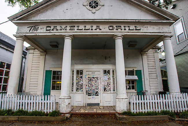 Hundreds of notes and messages from locals and tourists who missed it cover the front of Camellia Grill that was closed because of Hurricane Katrina located in the Uptown area of New Orleans, Louisiana.