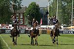 """""""Mint Polo in the Park"""". Hurlingham Park, Fulham, London Uk June 6th 2010. Winning team City AM Team New York. Jack Kidd, Henry Brett, Jamie Morrison."""