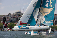 Extreme Sailing Series 2011. Act 3.Turkey . Istanbul..Pictures of Oman Air Skippered by Sidney Gavignet with teammates Nasser Al Mashari, David Carr and Kinley Fowler