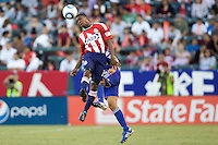CD Chivas USA midfielder Michael Lahoud clears a ball with his head. The Kansas City Wizards defeated CD Chivas USA 2-0 at Home Depot Center stadium in Carson, California on Sunday September 19, 2010.