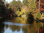 A beautiful and serene view of a red bridge with fall colors on the surrounding trees, with a magnificient reflection in the water.  The view compelled me to walk on the bridge and be amongst the beautiful and colorful trees.