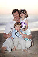 20 April 2013:  Rich, Hope and RJ Garvey visit Huntington Beach north side at sunset.