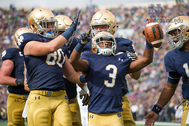 September 10, 2016; Notre Dame Fighting Irish wide receiver C.J. Sanders (3) celebrates after a touchdown in the second quarter agains the Nevada Wolf Pack at Notre Dame Stadium. (Photo by Matt Cashore)