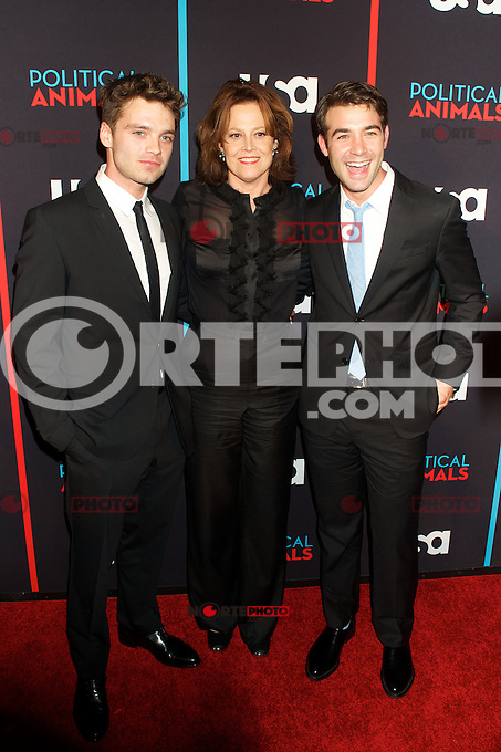 Sebastian Stan, Sigourney Weaver and James Wolk at the screening of USA Network's 'Political Animals' at the Morgan Library & Museum in New York City. June 25, 2012. © Ronald Smits/MediaPunch Inc. *NORTEPHOTO* **SOLO*VENTA*EN*MEXICO** **CREDITO*OBLIGATORIO** **No*Venta*A*Terceros** **No*Sale*So*third** *** No*Se*Permite Hacer Archivo** **No*Sale*So*third** *Para*más*información:*email*NortePhoto@gmail.com*web*NortePhoto.com*