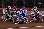 Heat 4: Daniel Davidsson (blue), Adam Shields (red), Joe Haines (yellow) and Tai Woffinden (white) - Lakeside Hammers vs Wolverhampton Wolves, Elite Shield Speedway at the Arena Essex Raceway, Purfleet - 26/03/10 - MANDATORY CREDIT: Rob Newell/TGSPHOTO - Self billing applies where appropriate - 0845 094 6026 - contact@tgsphoto.co.uk - NO UNPAID USE.