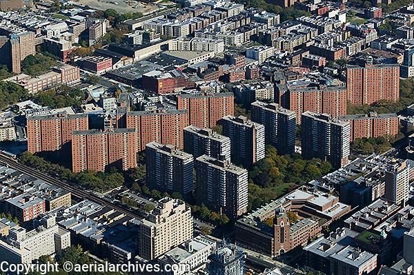 aerial photograph apartment buildings Bronx, New York City