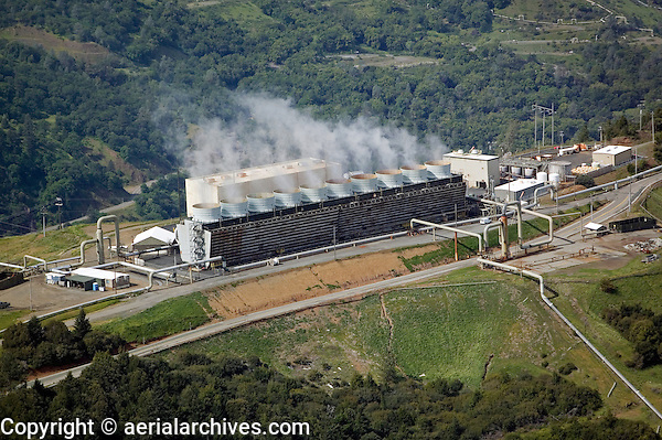 aerial photograph of the Geysers, the largest group of geothermal power plants in the world, Lake County, Californi