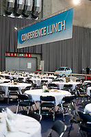 "Trade fair lunch area. Renewable sources will be helping to meet the world's demand for energy in the future. This development opens new markets and opportunities for business. Hoping to make ""green business"" and ""green profit"" over 60 exhibitors took part in the The North European Renewable Energy Convention (Nerec) , in Norway, presenting their solutions for renewable energy in the future. .© Fredrik Naumann/Felix Features"