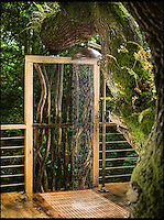 BNPS.co.uk (01202 558833)<br /> Pic: Mallinson/BNPS<br /> <br /> Shower in the treetop...<br /> <br /> Release your inner Tarzan...in Britain's poshest treehouse.<br /> <br /> A luxury glamping site in deepest Dorset has created a luxurious treehouse that comes with its own sauna, hot tub, rotating fireplace and pizza oven.<br /> <br /> The Woodsman's Treehouse is perched 30ft from the ground on long stilts and has two floors. <br /> <br /> It has a spiral staircase and a stainless steel slide for quick access to the ground and can be rented out from &pound;390 a night. <br /> <br /> It is located at the Crafty Camping glamping site at Holditch in west Dorset.