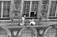 Window washers at work on a high-rise building, Atlanta, Georgia. 1952. Photo by John G. Zimmerman.