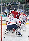 Braden Pimm (NU - 14), Mike Szmatula (NU - 19), Doug Carr (UML - 31), Zack Kamrass (UML - 27) - The Northeastern University Huskies defeated the University of Massachusetts Lowell River Hawks 4-1 (EN) on Saturday, January 11, 2014, at Fenway Park in Boston, Massachusetts.