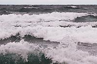 Large waves on Lake Superior along the Keweenaw Peninsula near Bete Grise Michigan in the Upper Peninsula.