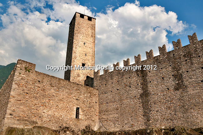 Tower of Castelgrande, the large castle in the middle of Bellinzona, Switzerland a town with three castles