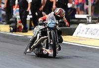 Mar. 9, 2012; Gainesville, FL, USA; NHRA pro stock motorcycle rider Eddie Krawiec during qualifying for the Gatornationals at Auto Plus Raceway at Gainesville. Mandatory Credit: Mark J. Rebilas-