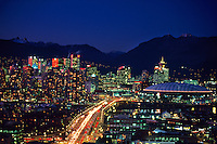 Downtown Vancouver at twilight (Cambie Bridge in foreground), Vancouver, British Columbia, Canada