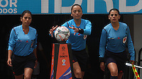 BOGOTA -COLOMBIA, 19-02-2017. Jenny Arias central referee with his parners Nury Cabezas , Jenny Torres and Mayra Cajamarca.Action game between  La Equidad and Independiente Santa Fe  during match for the date 1 of the Women´s  Aguila League I 2017 played at Nemesio Camacho El Campin stadium . Photo:VizzorImage / Felipe Caicedo  / Staff