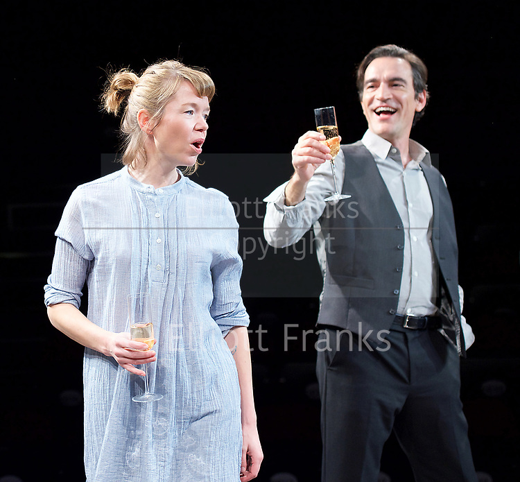 Consent <br /> by Nina Raine<br /> at the <br /> Dorfman Theatre, National Theatre, Southbank, London, Great Britain <br /> press photocall <br /> 3rd April 2017 <br /> Directed by Roger Michell<br /> Set Designed by Hildegard Bechtler<br /> Costumes Designed by Dinah Colin<br /> <br /> Anna Maxwell Martin as Kitty <br /> Ben Chaplin as Edward  <br /> <br /> <br />  <br /> Press night: Tuesday 4 April<br />  <br /> <br /> <br /> Photograph by Elliott Franks <br /> Image licensed to Elliott Franks Photography Services