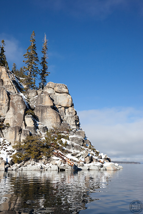 """Snowy Point on Lake Tahoe 1"" - These snow covered boulders were photographed on the West shore of Lake Tahoe, CA."