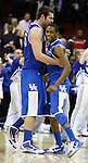 Teammates Josh Harrellson and Brandon Knight celebrate after defeating Ohio State in the Sweet 16 of the 2011 NCAA Basketball Tournament, at the Prudential Center, in Newark, NJ, on Saturday, March 25, 2011.  Photo by Latara Appleby | Staff
