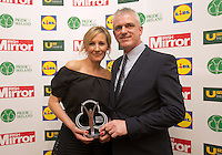 19/05/2015 <br /> Glenda Gilson with Stuart Wilson &amp; Magi Wilson with their award<br /> during the Irish mirror pride of Ireland awards at the mansion house, Dublin.<br /> Photo: gareth chaney Collins