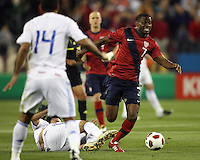 Maurice Edu(7) of the USA MNT breaks away from Marcelo Alejandro Estigambia(18) of Paraguay during an international friendly match at LP Field, in Nashville, TN. on March 29, 2011. Paraguay won 1-0.