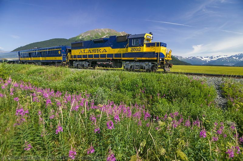 Alaska Railroad passenger train travels along Turnagain Arm, near Anchorage, Alaska