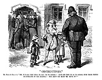 """""""Obstructives."""" Mr Punch (to Bull A 1). """"Yes, it's all very well to say, 'go to school!' How are they to go to school with those people quarrelling in the doorway? Why don't you make 'em 'move on'?"""""""